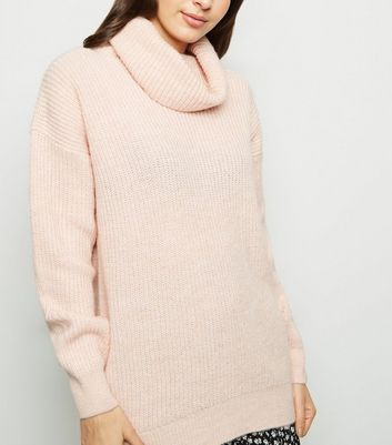 Pale Pink Roll Neck Slouchy Jumper