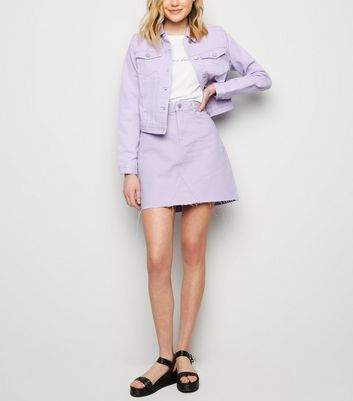 Lilac Fray Hem Denim Mom Skirt