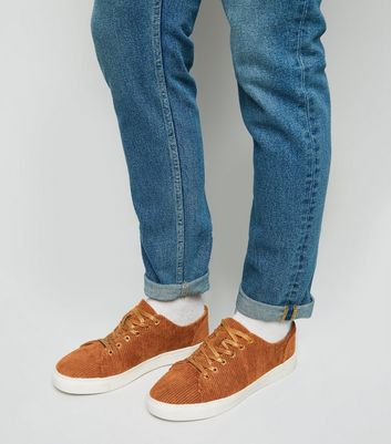 Rust Corduroy Lace Up Trainers