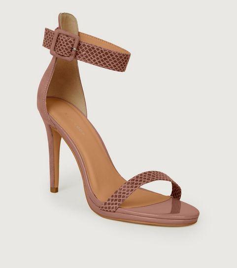 800576d40f0c ... Pink Suedette and Faux Croc Stiletto Sandals ...