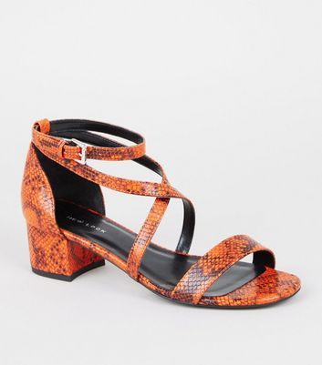 Orange Faux Snake Low Block Heel Sandals