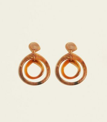 Brown Double Irregular Resin Teardrop Earrings