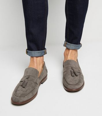 Grey Suedette Tassel Loafers