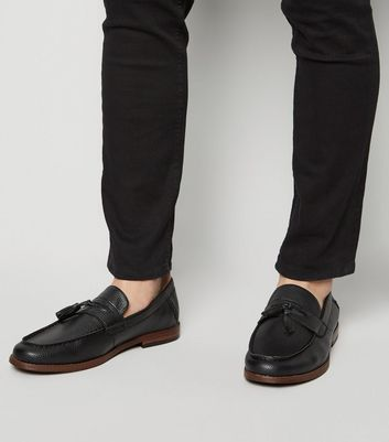 Black Leather-Look Tassel Trim Loafers