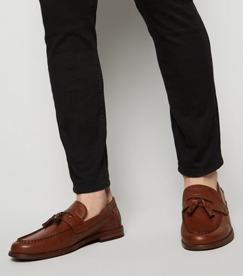 Tan Leather-Look Tassel Trim Loafers
