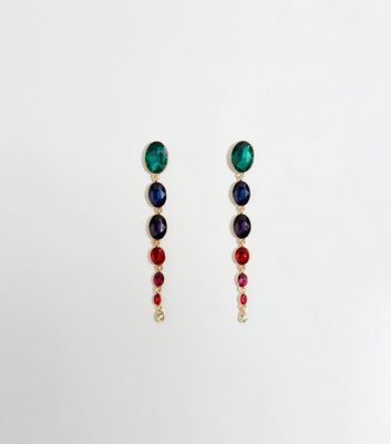 Rainbow Premium Oval Gem Drop Earrings