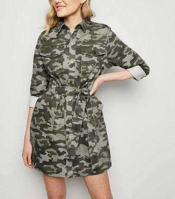 Green Camo Denim Utility Shirt Dress