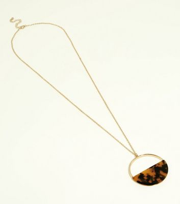 Gold Half Resin Disc Pendant Necklace
