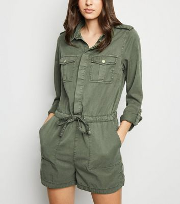 Khaki Lightweight Tie Waist Playsuit