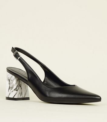 Black Marble Effect Heel Slingbacks