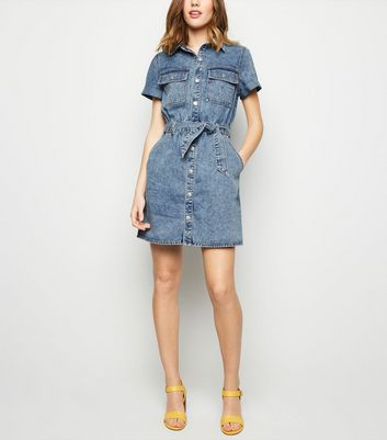 Pale Blue Acid Wash Denim Utility Shirt Dress