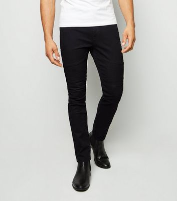 Black Stitched Panel Biker Skinny Jeans