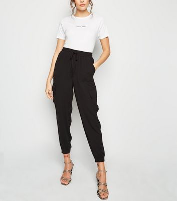 Black Cuffed Utility Joggers by New Look
