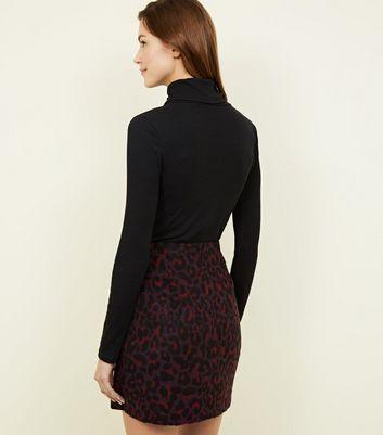 Burgundy Leopard Print Brushed Mini Skirt New Look