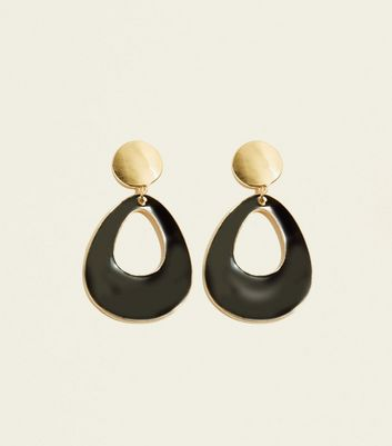 Black Cut-Out Teardrop Earrings