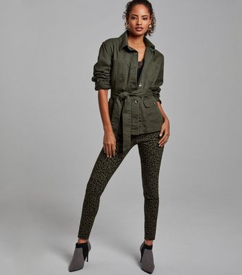 Khaki Leopard Print Zip Trim Slim Leg Trousers