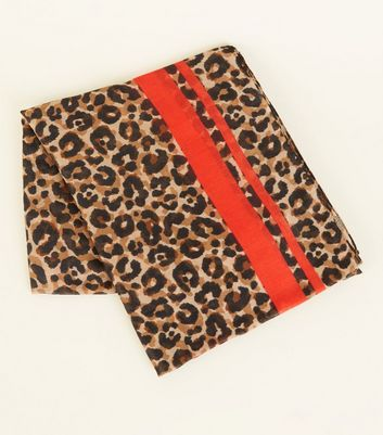 Brown Leopard Print Stripe Scarf