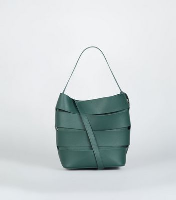Dark Green Paneled Cut Out Bucket Bag