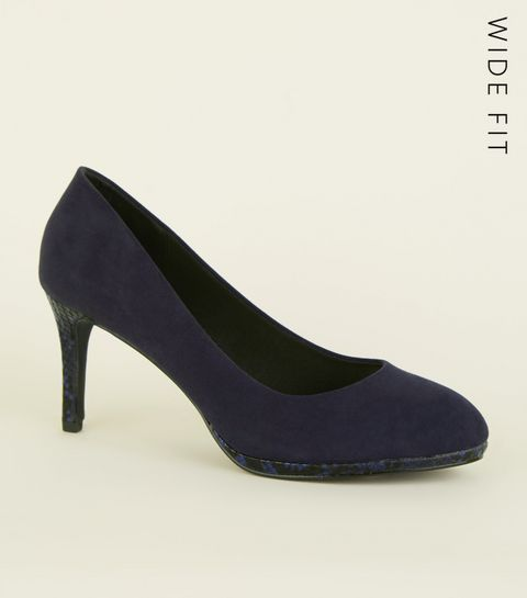 ... Wide Fit Navy Faux Snake Sole Courts ... 848b9f0d0