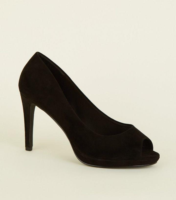41bd7cf9560 Wide Fit Black Suedette Peep Toe Heels