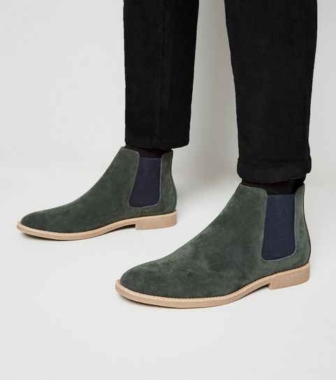 6d32563449b6 ... Dark Green Suedette Chelsea Boots ...