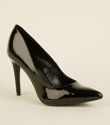 Black Patent Stiletto Heeled Court Shoes