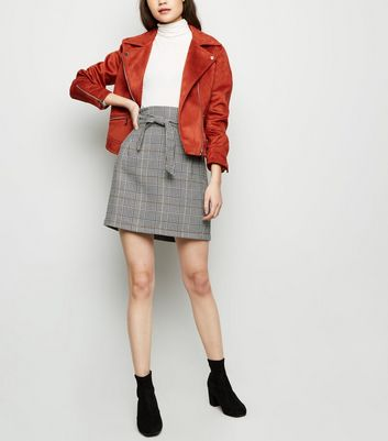 Black Prince of Wales Check Belted Mini Skirt