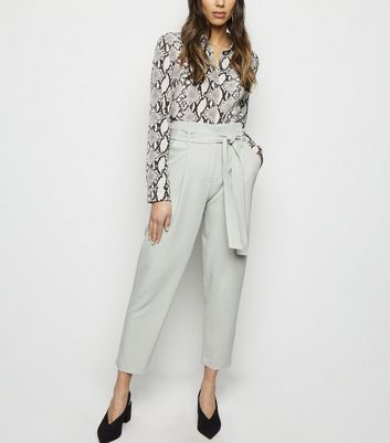 Mint Green Tie Paperbag Waist Trousers