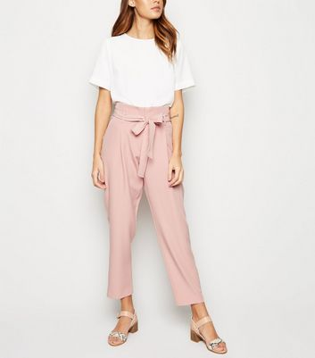 Mid Pink High Waist Paperbag Trousers