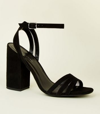 Black Suedette and Mesh Block Heel Sandals