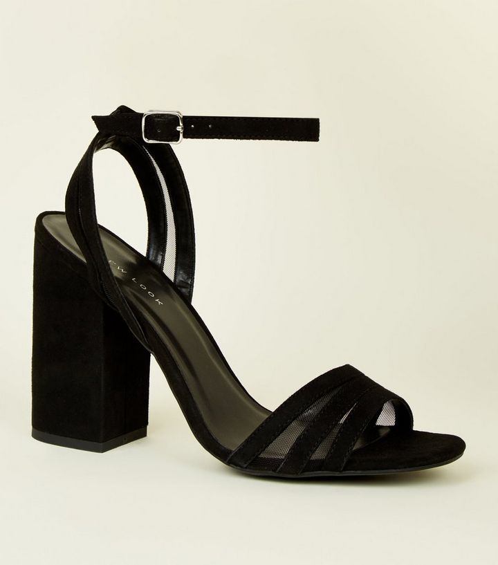 f67fed3f9f0 Black Suedette and Mesh Block Heel Sandals