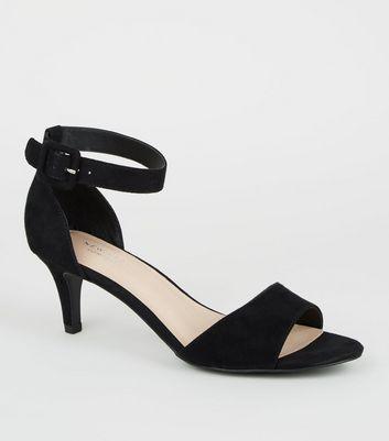 Black Comfort Flex Suedette Kitten Heel Sandals by New Look