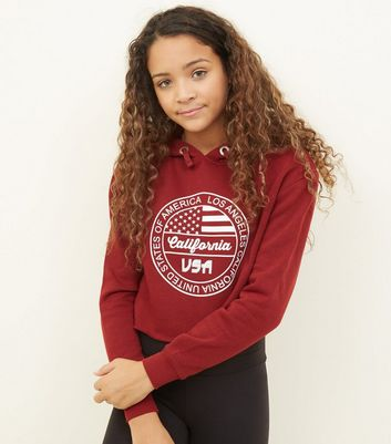 Girls Burgundy LA Circle Logo Hoodie