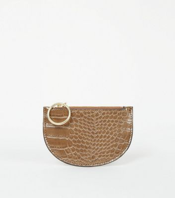 Mink Faux Croc Ring Zip Coin Purse