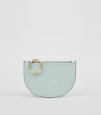 Mint Green Faux Croc Ring Zip Coin Purse