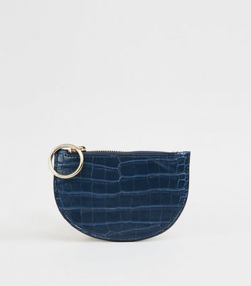 Navy Faux Croc Ring Zip Coin Purse