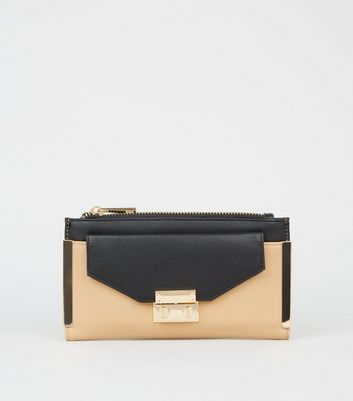 Black Colour Block Envelope Purse