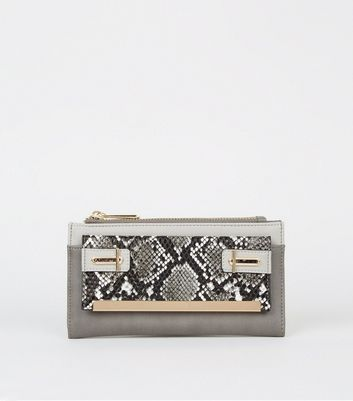 Grey Faux Snake Pocket Colour Block Purse