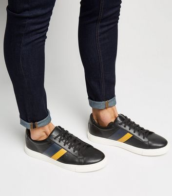 Black Stripe Lace Up Trainers