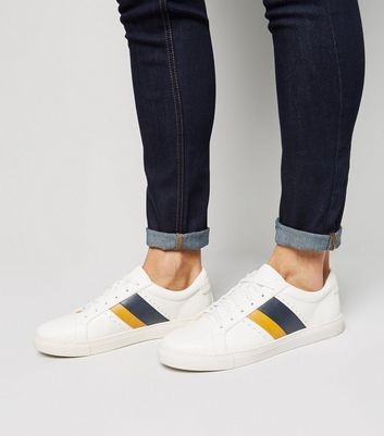 White Stripe Lace Up Trainers