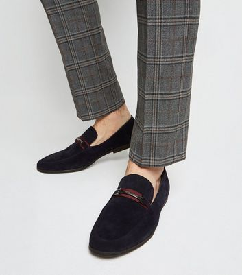 Marineblaue Loafers mit Ziersteg