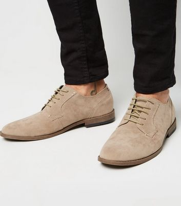 Stone Suedette Lace Up Derby Shoes