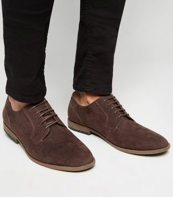 Dark Brown Suedette Lace Up Derby Shoes