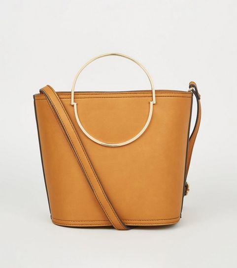 Mustard Half Circle Handle Bucket Bag