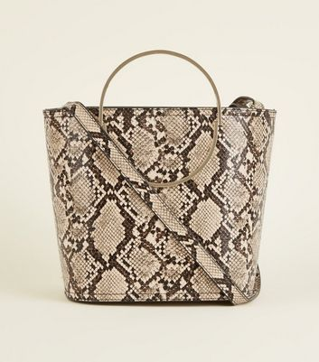 Stone Faux Snake Ring Handle Bucket Bag