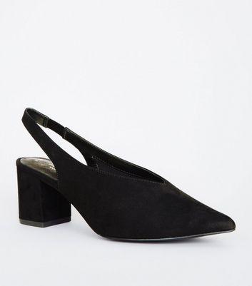 Comfort Flex   Sandales Noires En Suédine à Talons Et Bride Arrière by New Look