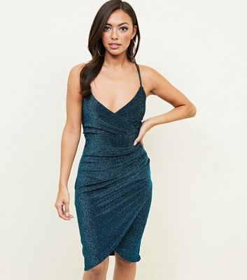 QED Teal Glitter Wrap Bodycon Dress