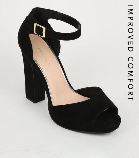 74ef7df86ebba3 ... Black Suedette Peep Toe Platform Block Heels ...