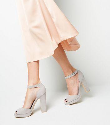 shop for Grey Suedette Peep Toe Platform Block Heels New Look at Shopo