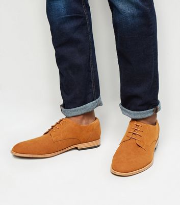Rust Suedette Woven Embossed Derby Shoes